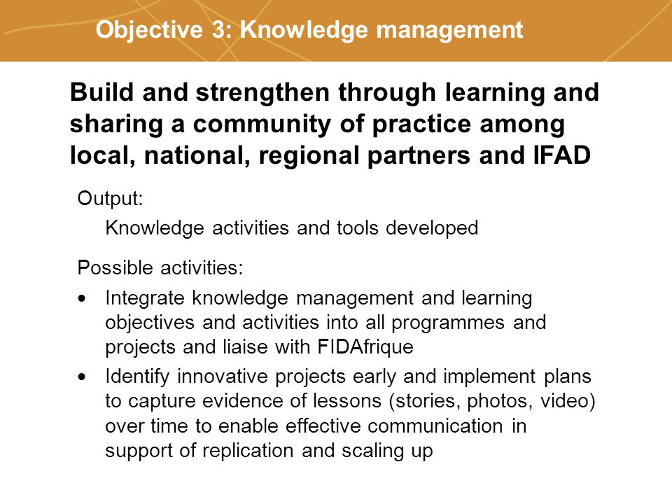Farmers' organizations, policies and markets Objective 3: Knowledge management Output: Knowledge activities and tools developed Possible activities:  Integrate knowledge management and learning objectives and activities into all programmes and projects and liaise with FIDAfrique  Identify innovative projects early and implement plans to capture evidence of lessons (stories, photos, video) over time to enable effective communication in support of replication and scaling up Build and strengthen through learning and sharing a community of practice among local, national, regional partners and IFAD