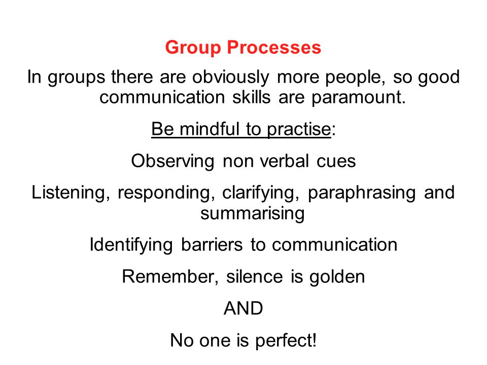 Group Processes In groups there are obviously more people, so good communication skills are paramount. Be mindful to practise: Observing non verbal cu