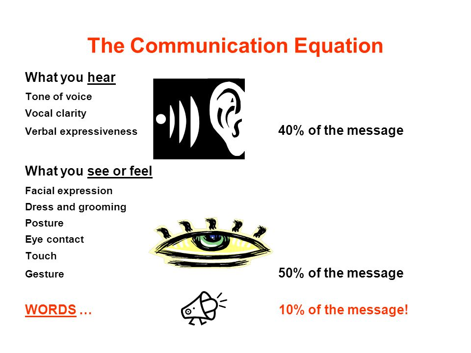 The Communication Equation What you hear Tone of voice Vocal clarity Verbal expressiveness 40% of the message What you see or feel Facial expression D
