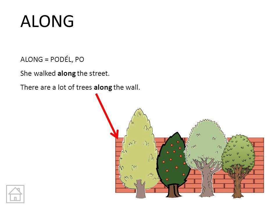 ALONG ALONG = PODÉL, PO She walked along the street. There are a lot of trees along the wall.