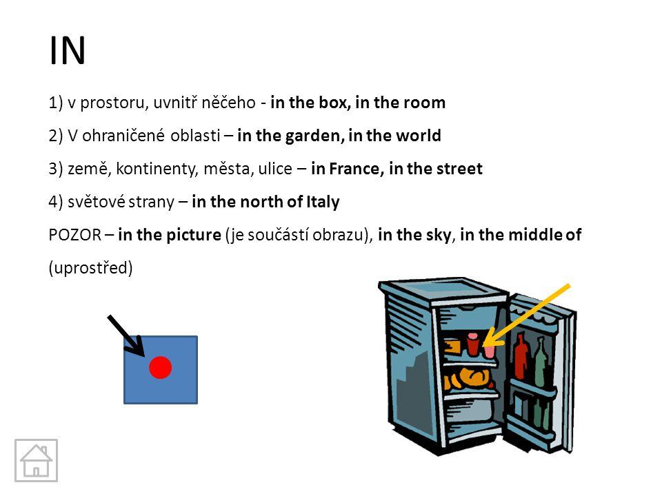 IN 1) v prostoru, uvnitř něčeho - in the box, in the room 2) V ohraničené oblasti – in the garden, in the world 3) země, kontinenty, města, ulice – in