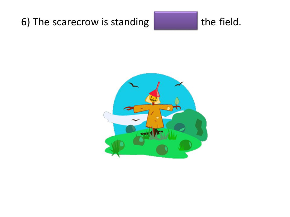 6) The scarecrow is standing the field.