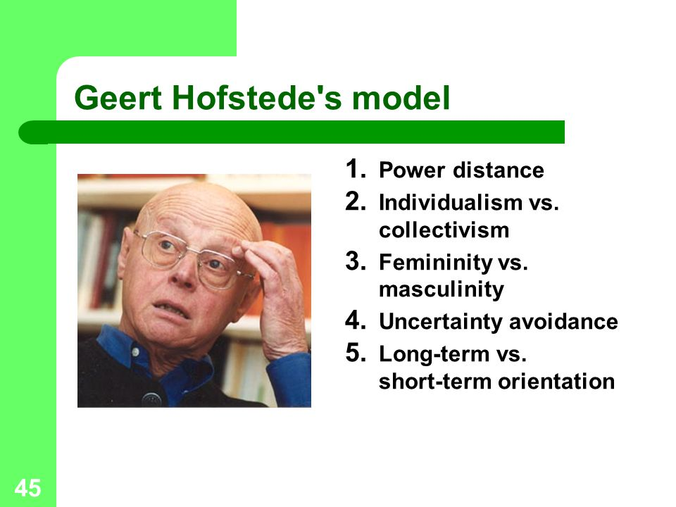 45 Geert Hofstede's model 1. Power distance 2. Individualism vs. collectivism 3. Femininity vs. masculinity 4. Uncertainty avoidance 5. Long-term vs.