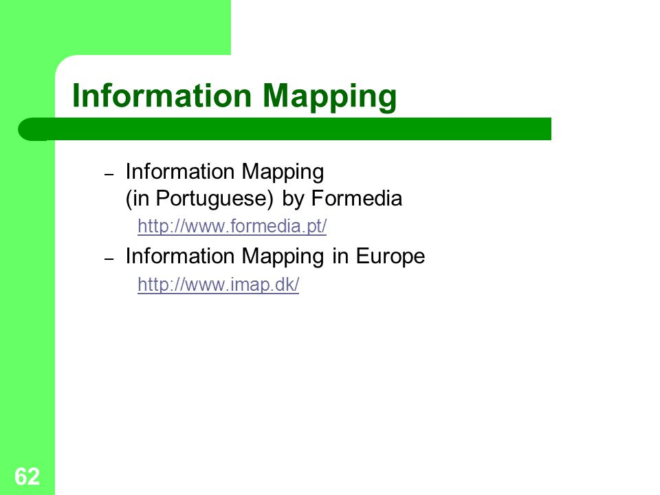 62 Information Mapping – Information Mapping (in Portuguese) by Formedia http://www.formedia.pt/ – Information Mapping in Europe http://www.imap.dk/