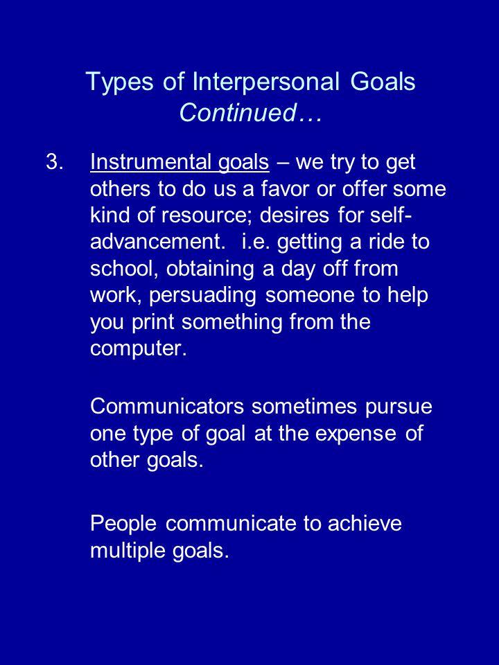 Types of Interpersonal Goals 1.Self-presentation goal (identity management) – we perform facework.