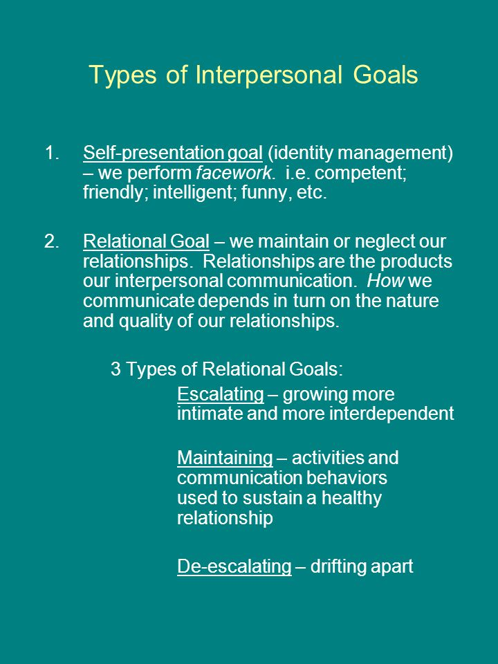 Types of Interpersonal Goals 1.Self-presentation goal (identity management) – we perform facework.