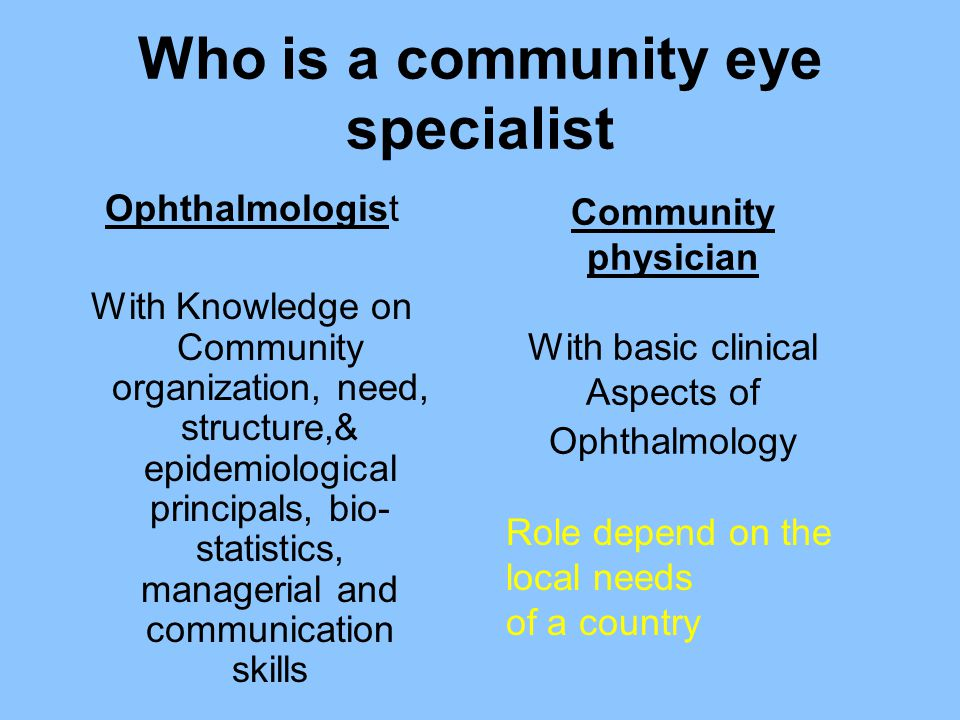 Who is a community eye specialist Ophthalmologist With Knowledge on Community organization, need, structure,& epidemiological principals, bio- statist