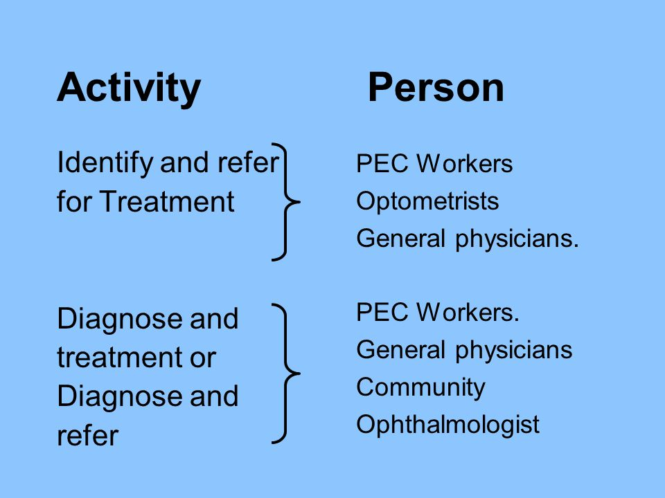Identify and refer for Treatment Diagnose and treatment or Diagnose and refer PEC Workers Optometrists General physicians. PEC Workers. General physic