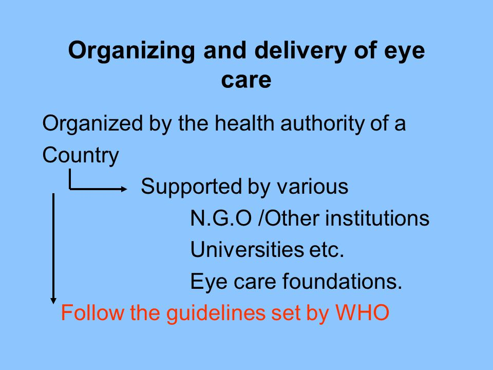 Organizing and delivery of eye care Organized by the health authority of a Country Supported by various N.G.O /Other institutions Universities etc. Ey