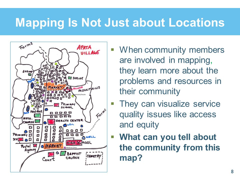Components of Mapping During the community meeting:  Ask the group to list key persons and organizations in the community that can help promote the program  Identify any potential road blocks or people who might oppose the program  Learn about the community's past development efforts and why these did or did not succeed  Past efforts provide lessons on how to undertake future efforts more successfully 9