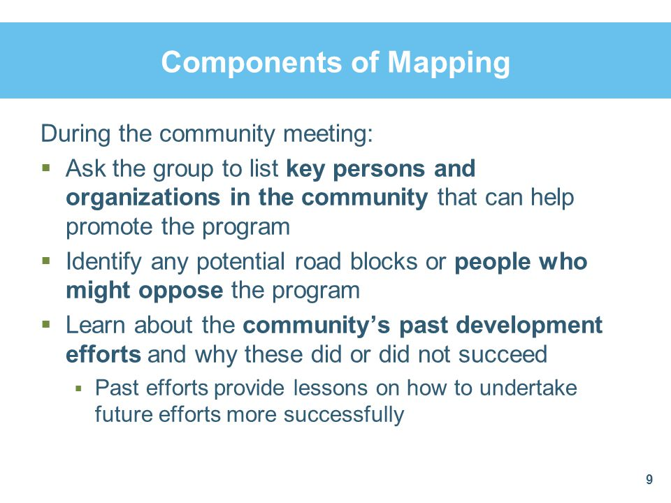 Summary and Conclusions  Community members' involvement in social mapping can help them learn more about problems and resources in their community  Service issues like access and equity are more easily visualized by community members  Community participation in mapping makes community landmarks and identity more visible  Mapping helps link people in need with the services and resources they need 20