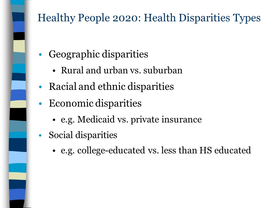 Healthy People 2020: Health Disparities Types Geographic disparities Rural and urban vs. suburban Racial and ethnic disparities Economic disparities e