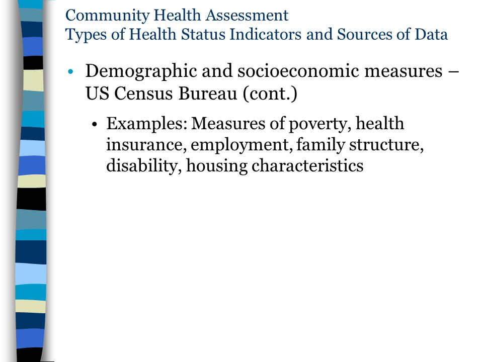 Community Health Assessment Types of Health Status Indicators and Sources of Data Demographic and socioeconomic measures – US Census Bureau (cont.) Ex