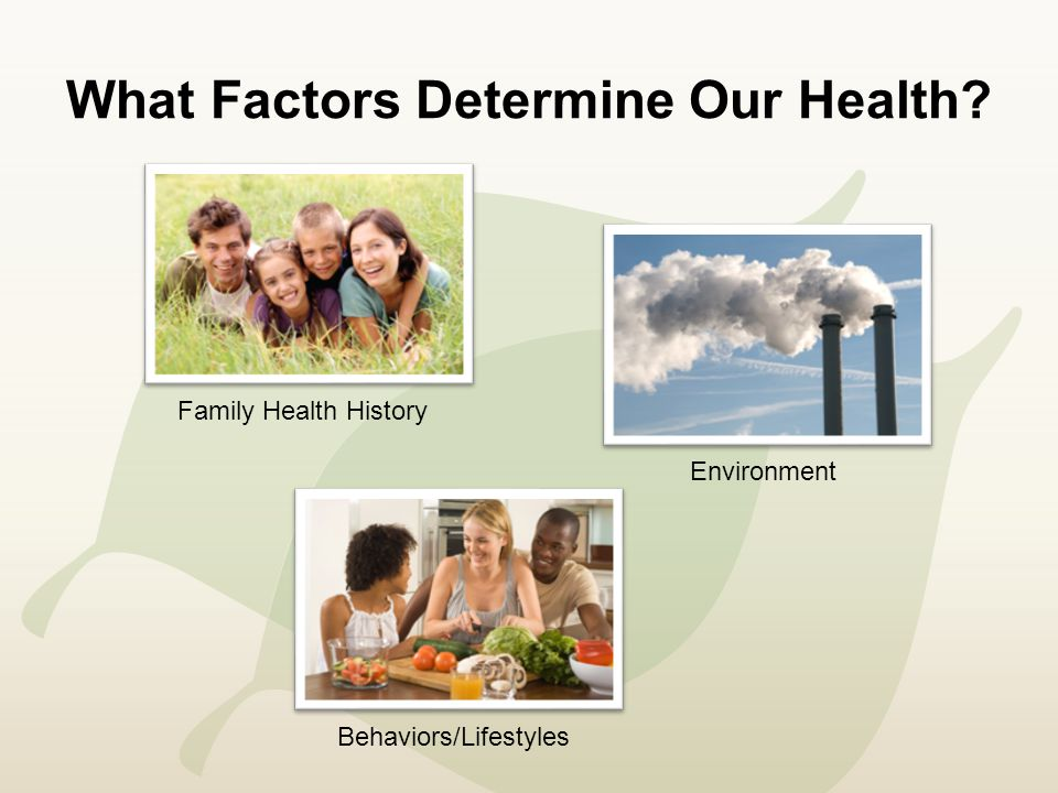 What Factors Determine Our Health Family Health History Behaviors/Lifestyles Environment