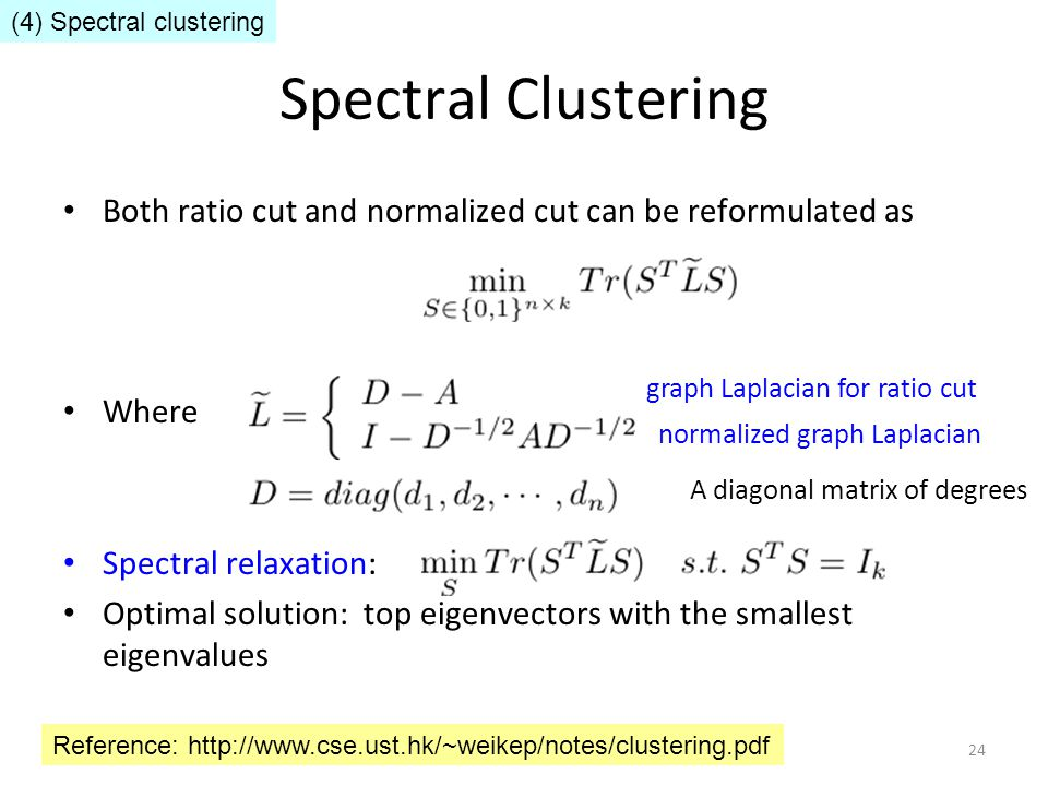 Spectral Clustering Both ratio cut and normalized cut can be reformulated as Where Spectral relaxation: Optimal solution: top eigenvectors with the sm