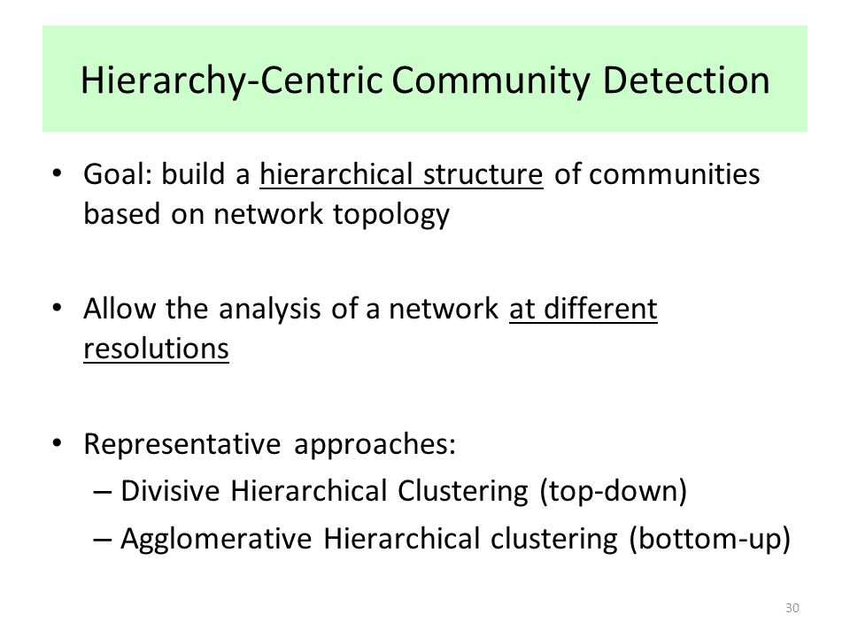 Hierarchy-Centric Community Detection Goal: build a hierarchical structure of communities based on network topology Allow the analysis of a network at