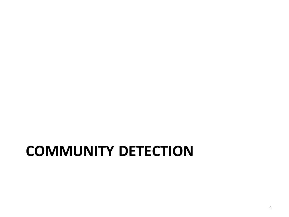 Summary of Community Detection Node-Centric Community Detection – cliques, k-cliques, k-clubs Group-Centric Community Detection – quasi-cliques Network-Centric Community Detection – Clustering based on vertex similarity – Latent space models, block models, spectral clustering, modularity maximization Hierarchy-Centric Community Detection – Divisive clustering – Agglomerative clustering 35