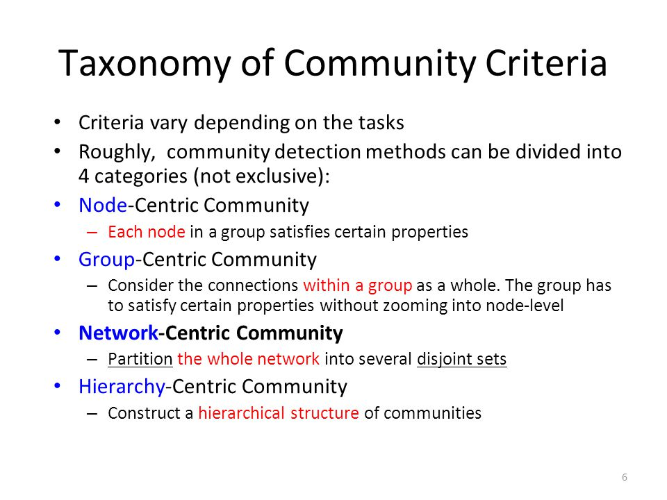 Taxonomy of Community Criteria Criteria vary depending on the tasks Roughly, community detection methods can be divided into 4 categories (not exclusi