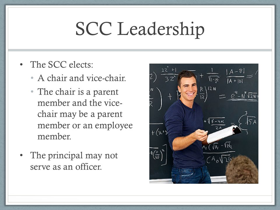 SCC Leadership The SCC elects: A chair and vice-chair.