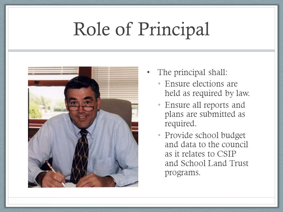 Role of Principal The principal shall: Ensure elections are held as required by law.
