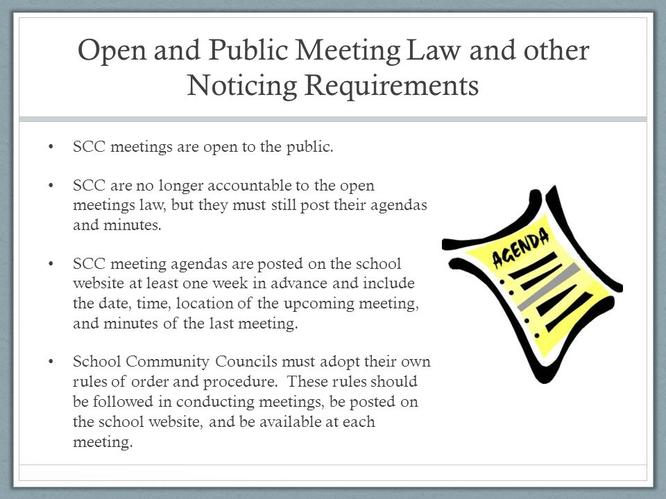 SCC meetings are open to the public.