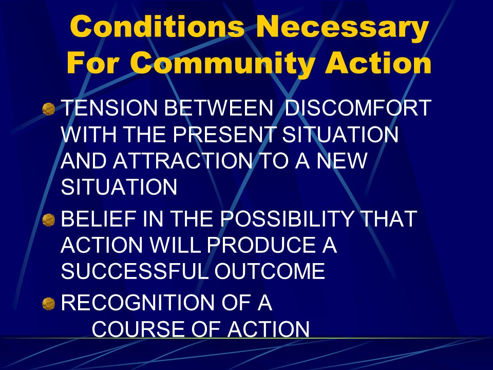 Conditions Necessary For Community Action TENSION BETWEEN DISCOMFORT WITH THE PRESENT SITUATION AND ATTRACTION TO A NEW SITUATION BELIEF IN THE POSSIBILITY THAT ACTION WILL PRODUCE A SUCCESSFUL OUTCOME RECOGNITION OF A COURSE OF ACTION