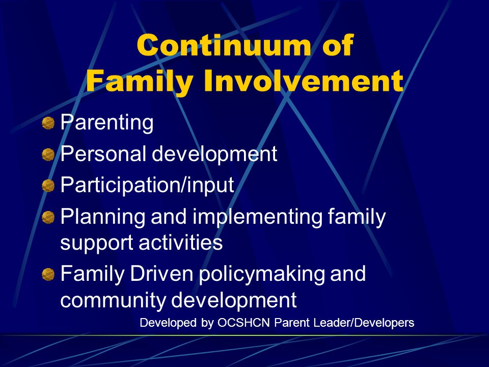 Continuum of Family Involvement Parenting Personal development Participation/input Planning and implementing family support activities Family Driven policymaking and community development Developed by OCSHCN Parent Leader/Developers