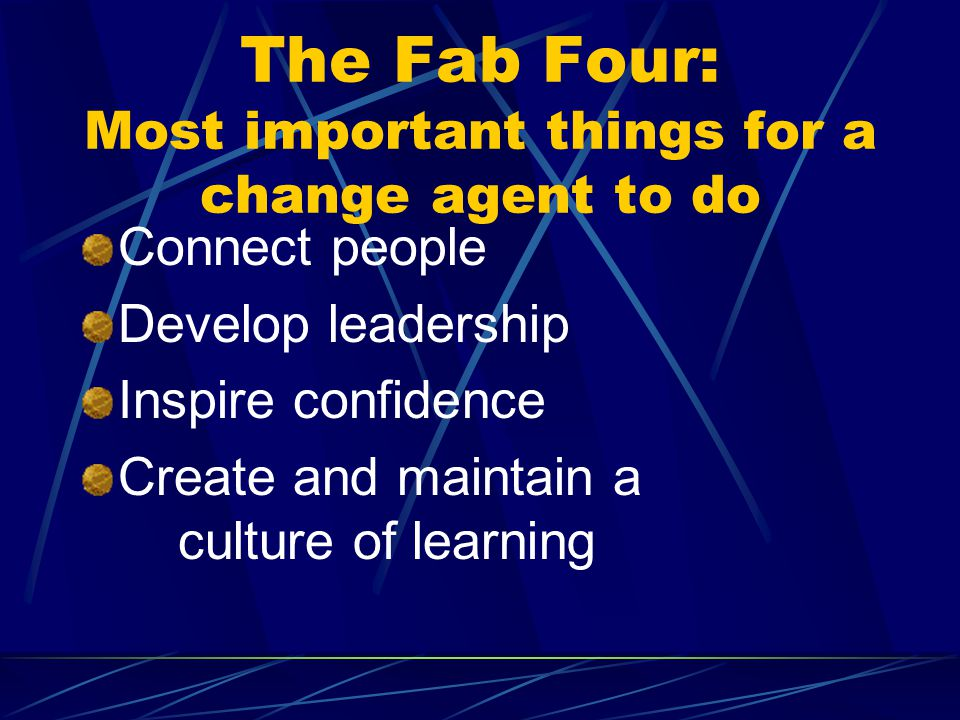 The Fab Four: Most important things for a change agent to do Connect people Develop leadership Inspire confidence Create and maintain a culture of learning