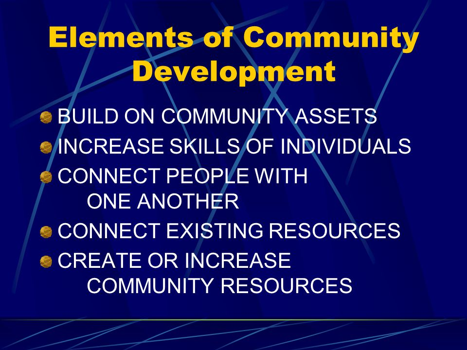 Elements of Community Development BUILD ON COMMUNITY ASSETS INCREASE SKILLS OF INDIVIDUALS CONNECT PEOPLE WITH ONE ANOTHER CONNECT EXISTING RESOURCES