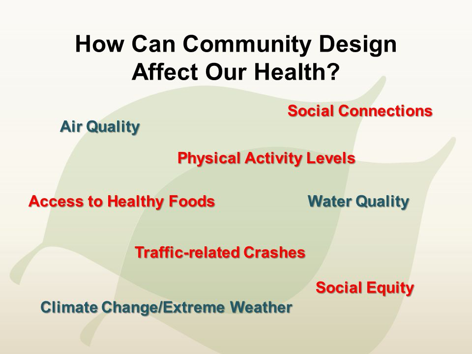 Healthy Community Design Principles Mixed-land use: homes, shops, schools, and work are close together Public transit Pedestrian and bicycle-friendly Accessible and socially equitable community Housing for different incomes and different stages of life Green spaces and parks that are easy to walk to Safe public places for social interaction Fresh, healthy food outlets