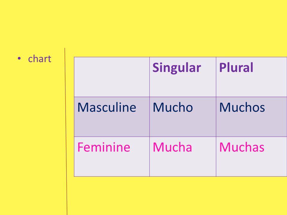 SingularPlural MasculineMuchoMuchos FeminineMuchaMuchas