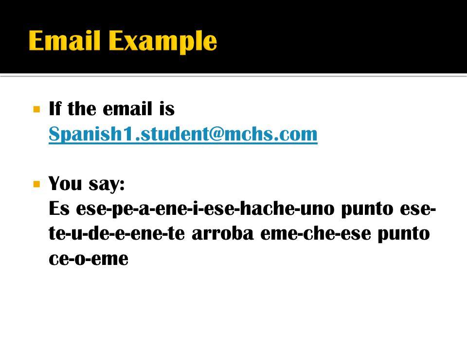  If the email is Spanish1.student@mchs.com Spanish1.student@mchs.com  You say: Es ese-pe-a-ene-i-ese-hache-uno punto ese- te-u-de-e-ene-te arroba em