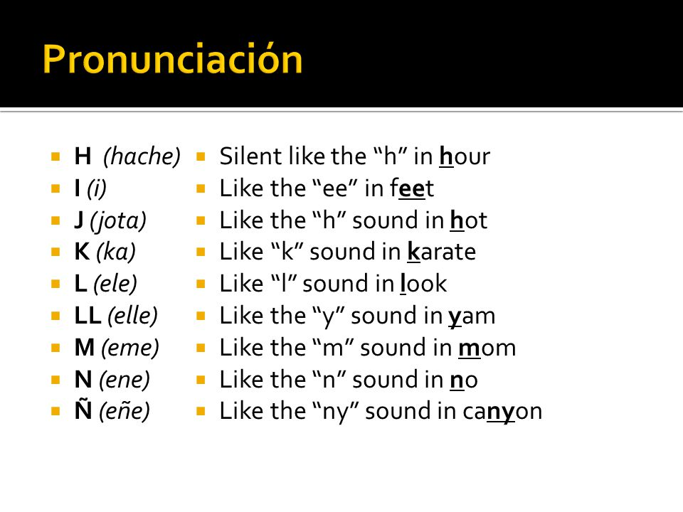 """ Silent like the """"h"""" in hour  Like the """"ee"""" in feet  Like the """"h"""" sound in hot  Like """"k"""" sound in karate  Like """"l"""" sound in look  Like the """"y"""" s"""