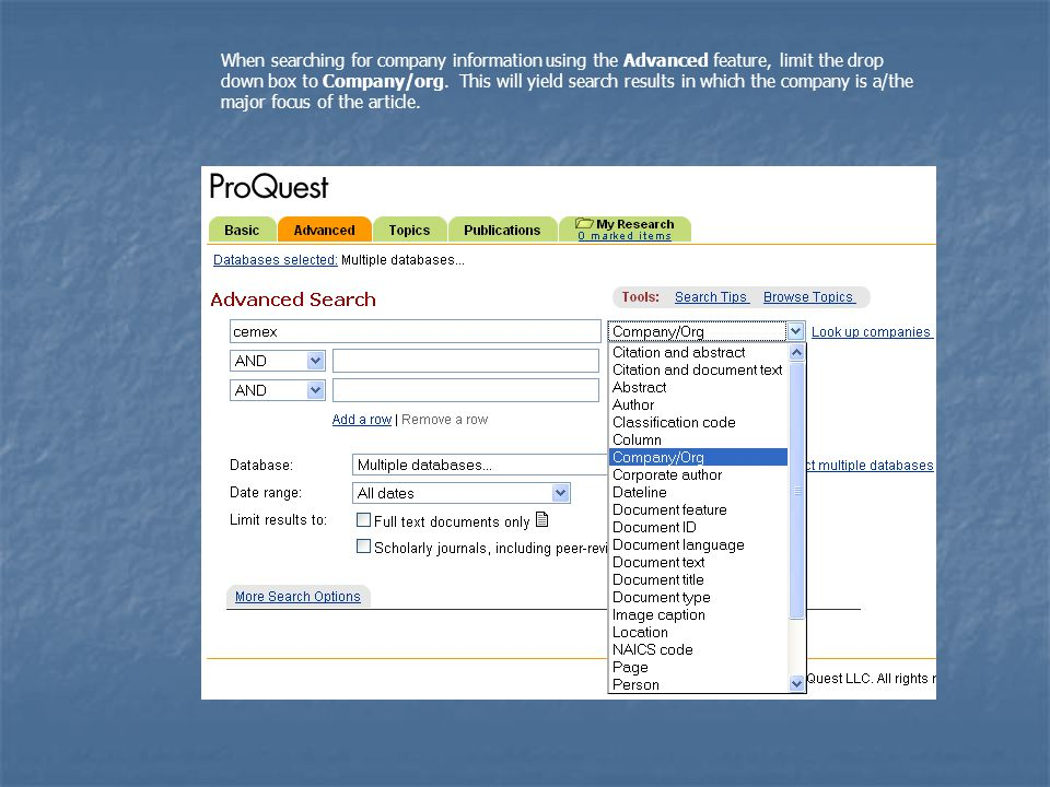ProQuest supplies suggested searches based on your original search.