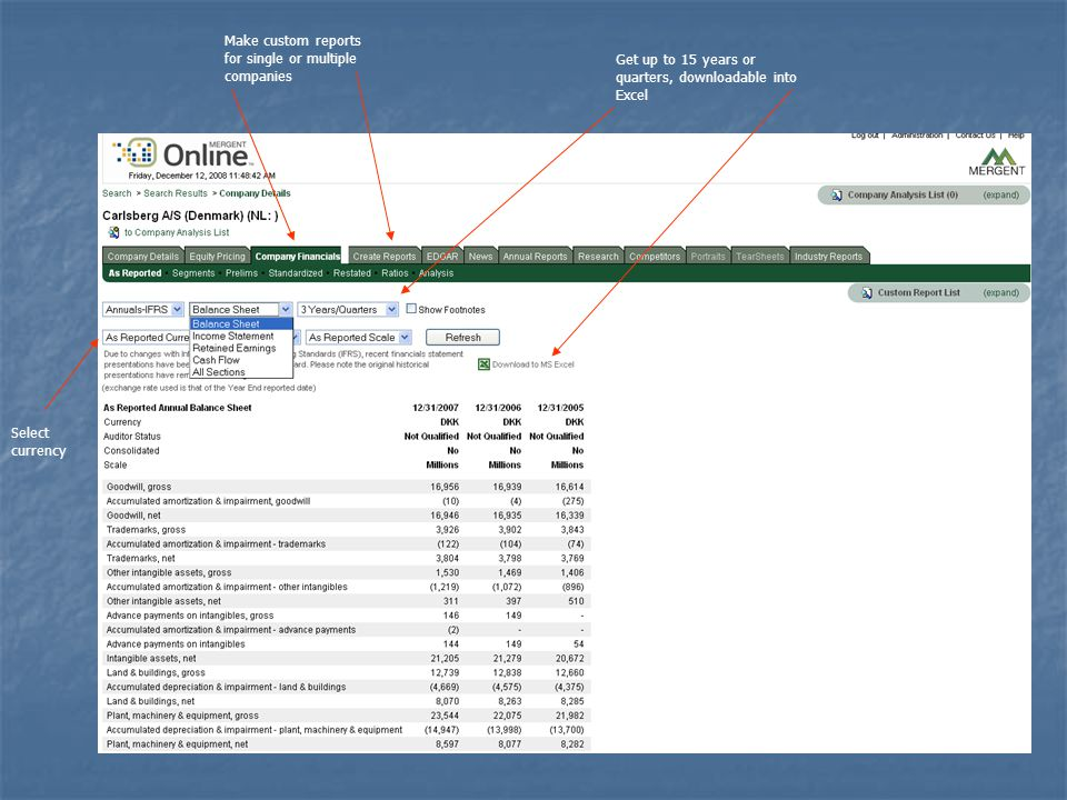 Make Multiple Company Comparison Reports Build a list by selecting individual companies..........