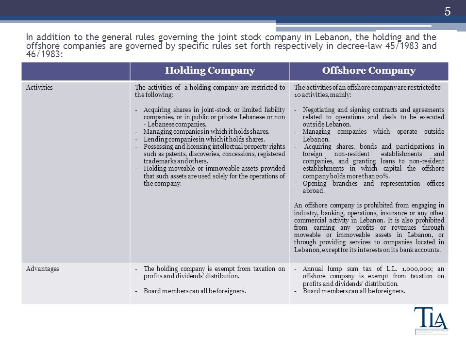 5 Holding CompanyOffshore Company ActivitiesThe activities of a holding company are restricted to the following: -Acquiring shares in joint-stock or limited liability companies, or in public or private Lebanese or non - Lebanese companies.