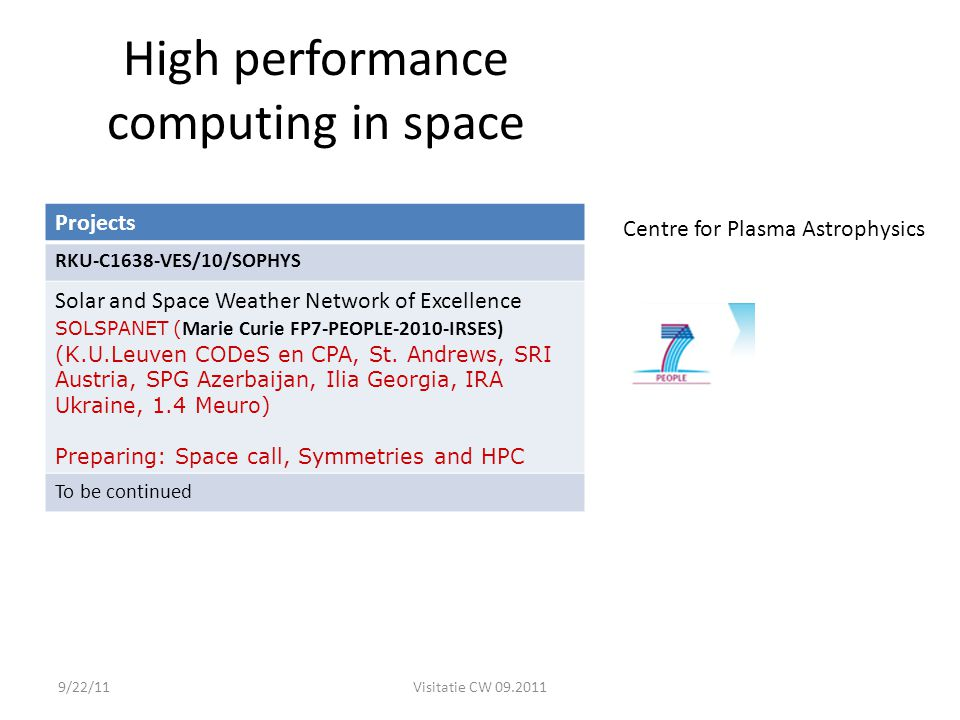 High performance computing in space Projects RKU-C1638-VES/10/SOPHYS Solar and Space Weather Network of Excellence SOLSPANET ( Marie Curie FP7-PEOPLE-2010-IRSES) (K.U.Leuven CODeS en CPA, St.