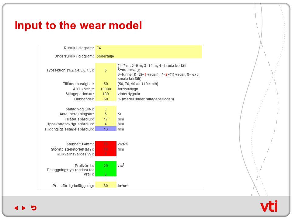 Input to the wear model Rubrik i diagram:E4 Underrubrik i diagram:Södertälje Typsektion (1/2/3/4/5/6/7/8):5 (1=7 m; 2=9 m; 3=13 m; 4= breda körfält; 5=motorväg; 6=tunnel & (2)+1 vägar); 7=2+(1) vägar; 8= extr smala körfält) Tillåten hastighet:50(50, 70, 90 alt 110 km/h) ÅDT körfält:10000fordon/dygn Slitageperiod/år:180vinterdygn/år Dubbandel:60% (medel under slitageperioden) Saltad väg (J/N):J Antal beräkningsår:5St Tillåtet spårdjup:17Mm Uppskattat övrigt spårdjup:4Mm Tillgängligt slitage-spårdjup:13Mm Stenhalt >4mm:75vikt-% Största stenstorlek (MS):16Mm Kulkvarnsvärde (KV):7 Prallvärde:20 cm 3 Beläggningstyp (endast för Prall):2 Pris - färdig beläggning:60 kr/m 2