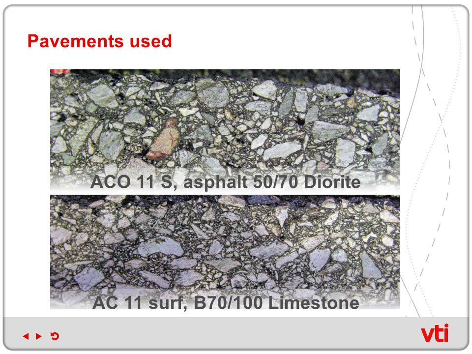 ACO 11 S, asphalt 50/70 Diorite Pavements used AC 11 surf, B70/100 Limestone