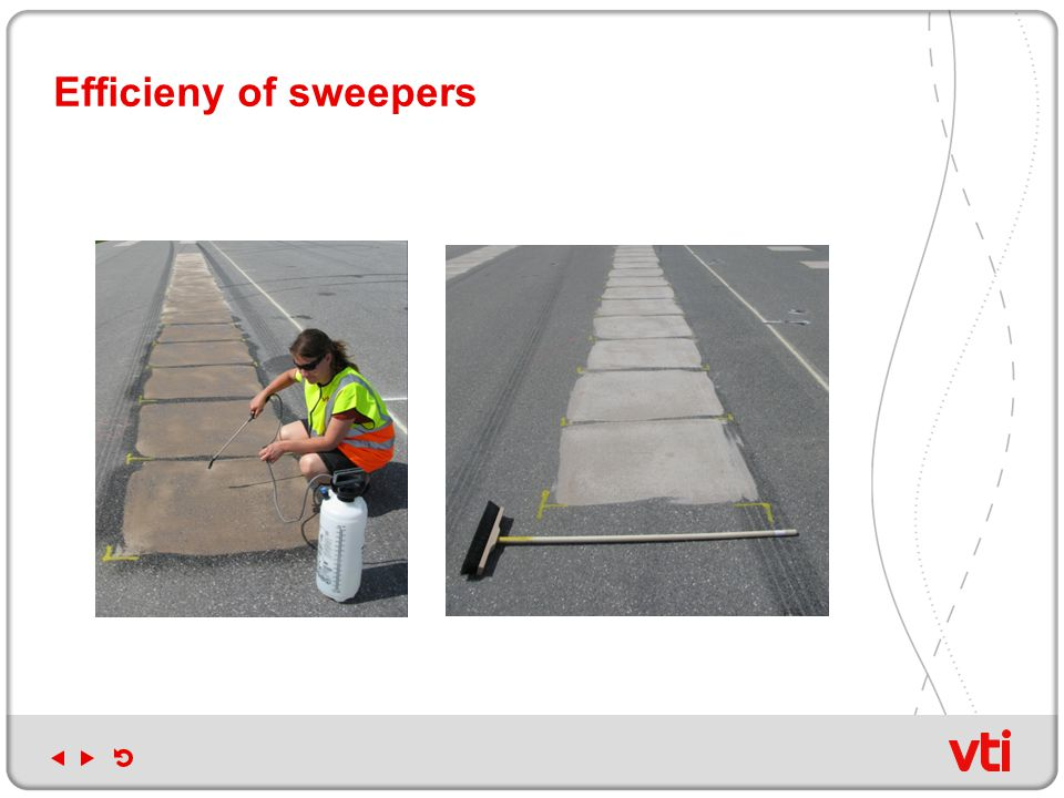 Efficieny of sweepers