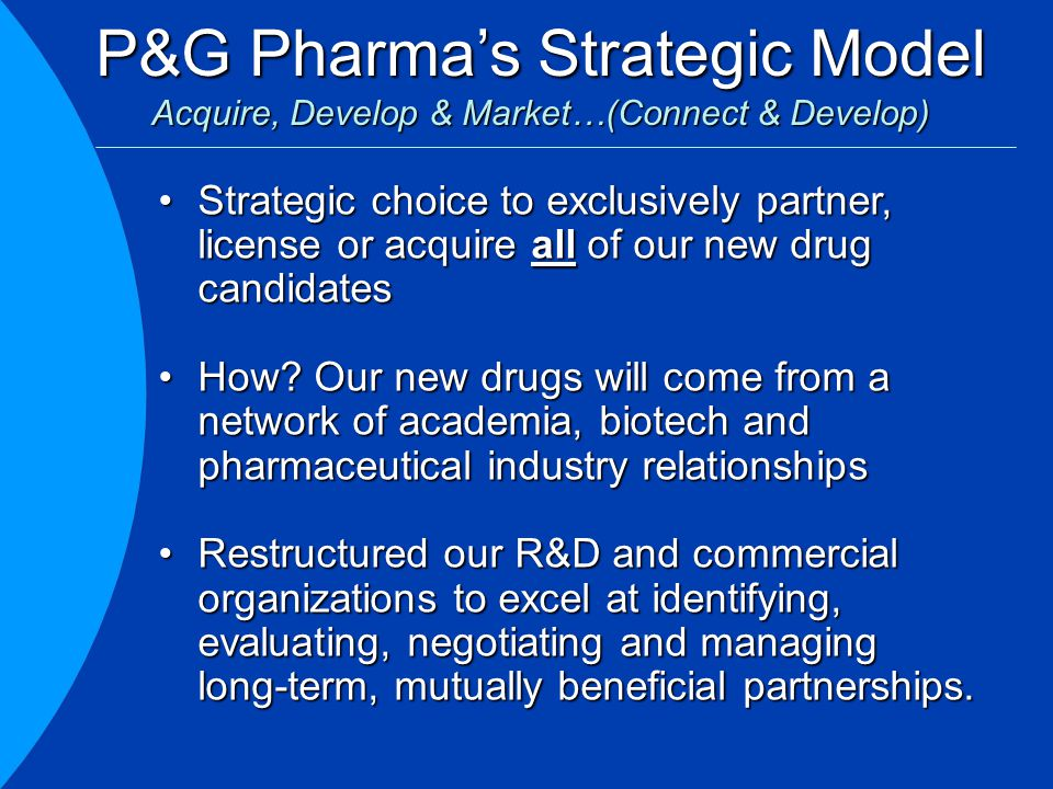 P&G Pharma's Strategic Model Acquire, Develop & Market…(Connect & Develop) Strategic choice to exclusively partner, license or acquire all of our new drug candidatesStrategic choice to exclusively partner, license or acquire all of our new drug candidates How.