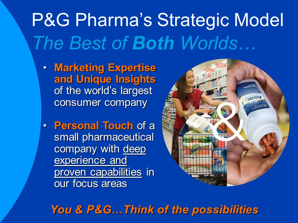 P&G Pharma's Strategic Model The Best of Both Worlds… You & P&G…Think of the possibilities Marketing Expertise and Unique Insights of the world's largest consumer companyMarketing Expertise and Unique Insights of the world's largest consumer company Personal Touch of a small pharmaceutical company with deep experience and proven capabilities in our focus areasPersonal Touch of a small pharmaceutical company with deep experience and proven capabilities in our focus areas
