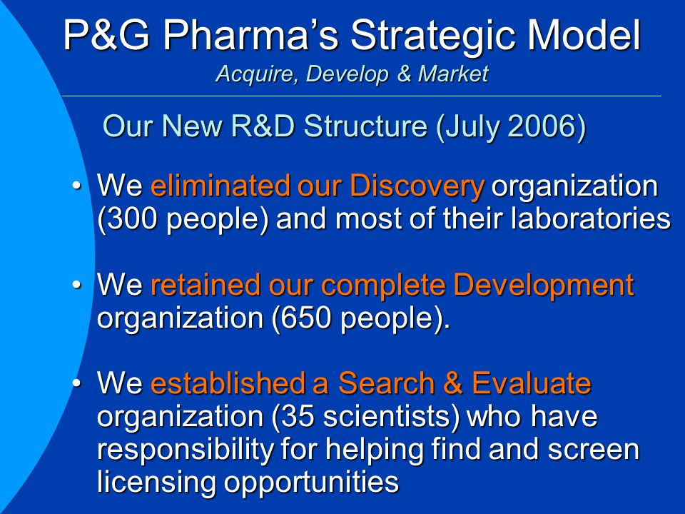 P&G Pharma's Strategic Model Acquire, Develop & Market We eliminated our Discovery organization (300 people) and most of their laboratoriesWe eliminated our Discovery organization (300 people) and most of their laboratories We retained our complete Development organization (650 people).We retained our complete Development organization (650 people).