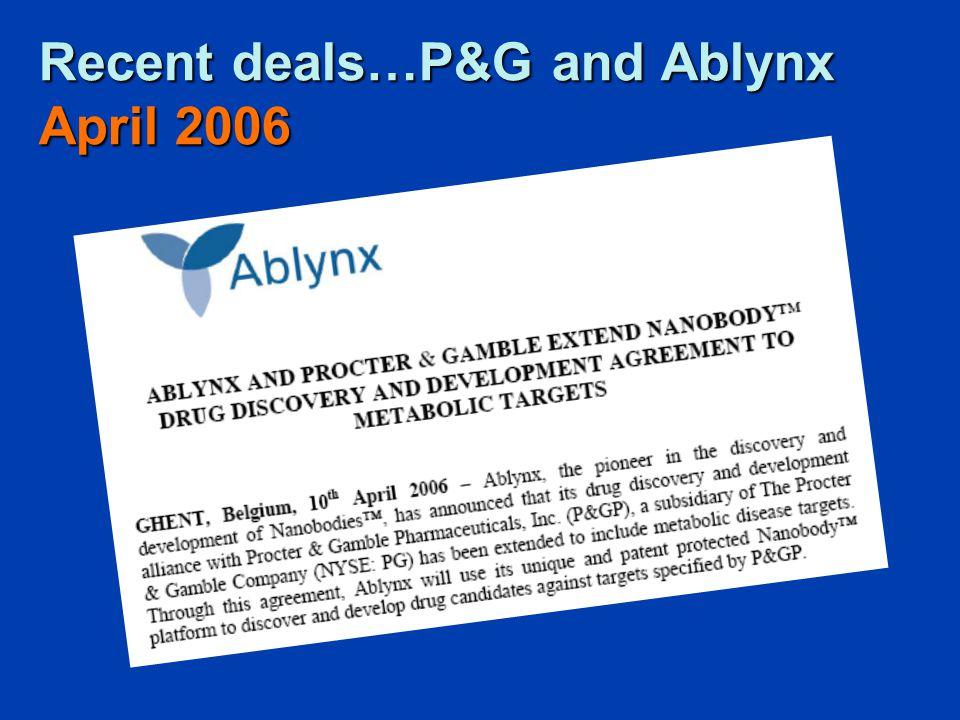 Recent deals…P&G and Ablynx April 2006