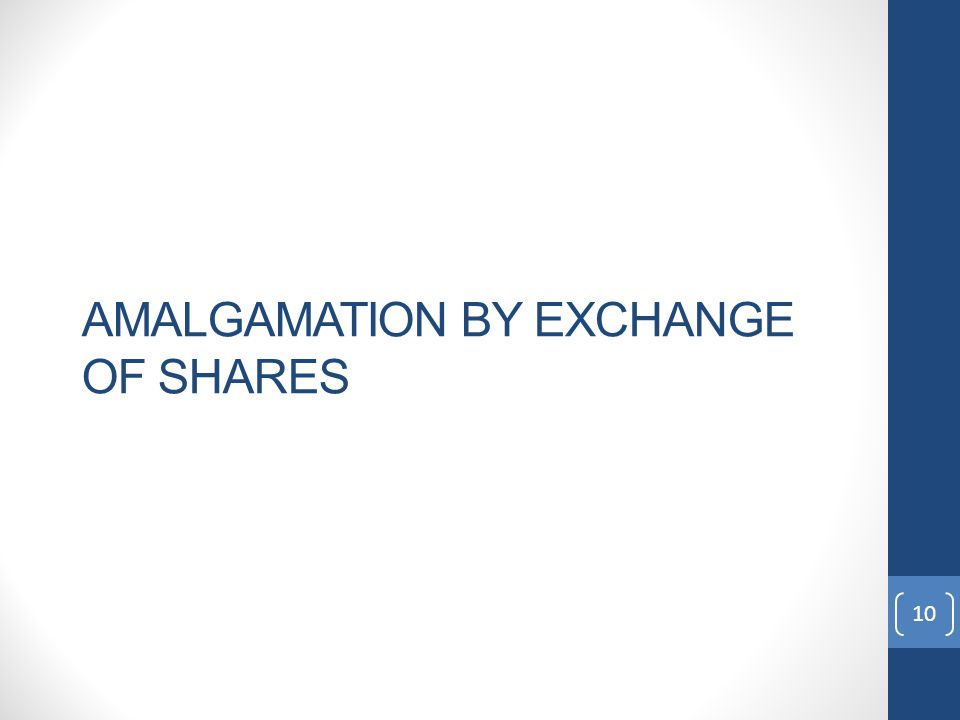 AMALGAMATION BY EXCHANGE OF SHARES 10