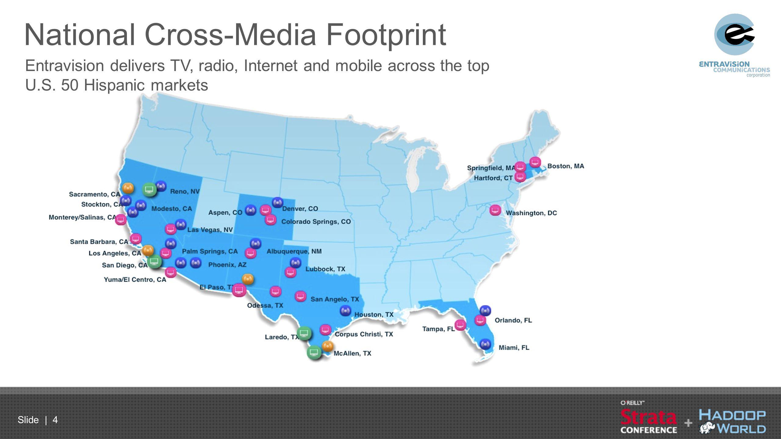 Slide | 4 National Cross-Media Footprint Entravision delivers TV, radio, Internet and mobile across the top U.S. 50 Hispanic markets