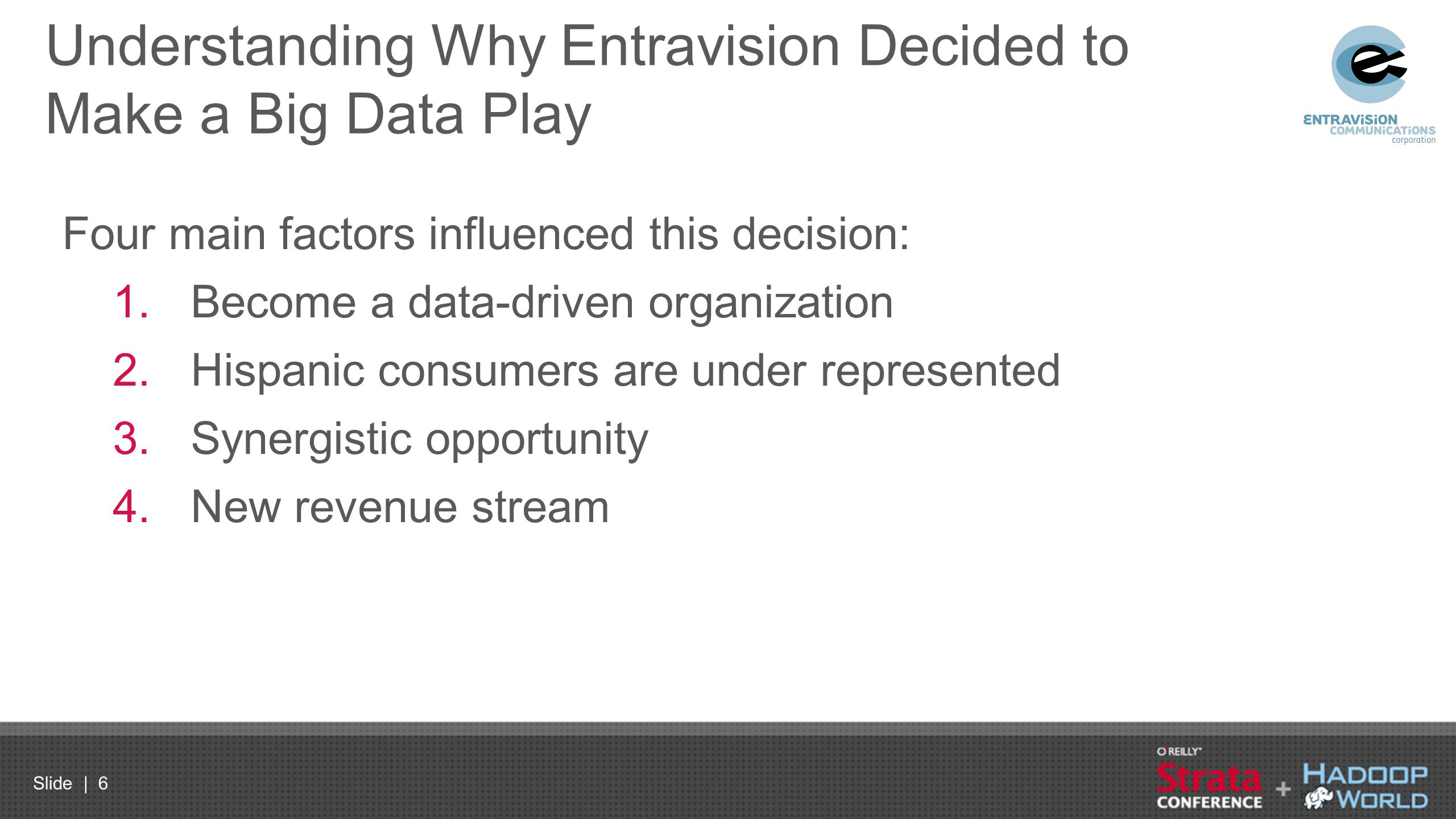Slide | 6 Understanding Why Entravision Decided to Make a Big Data Play Four main factors influenced this decision: 1.Become a data-driven organizatio