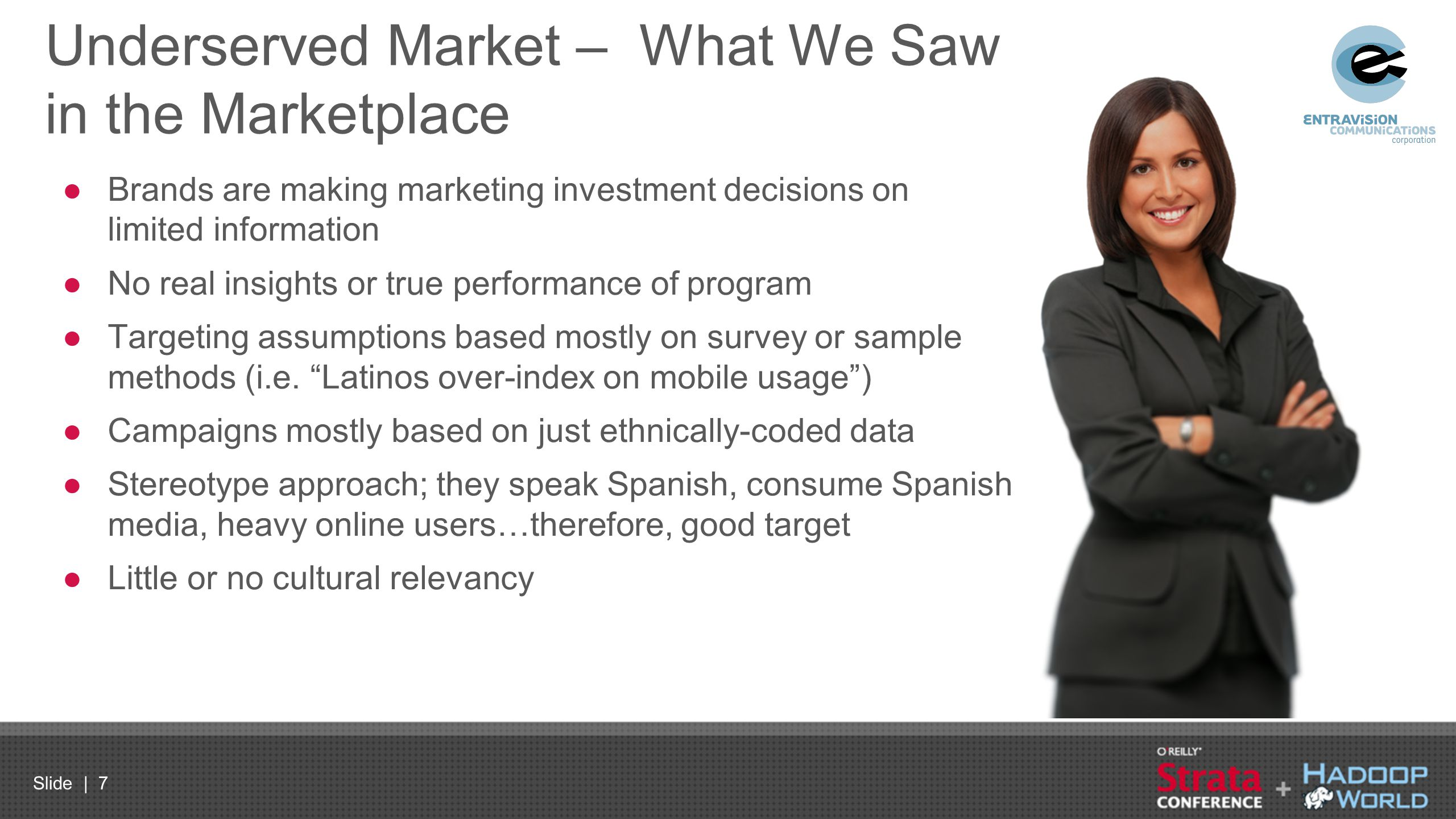 Slide | 7 Underserved Market – What We Saw in the Marketplace ●Brands are making marketing investment decisions on limited information ●No real insigh