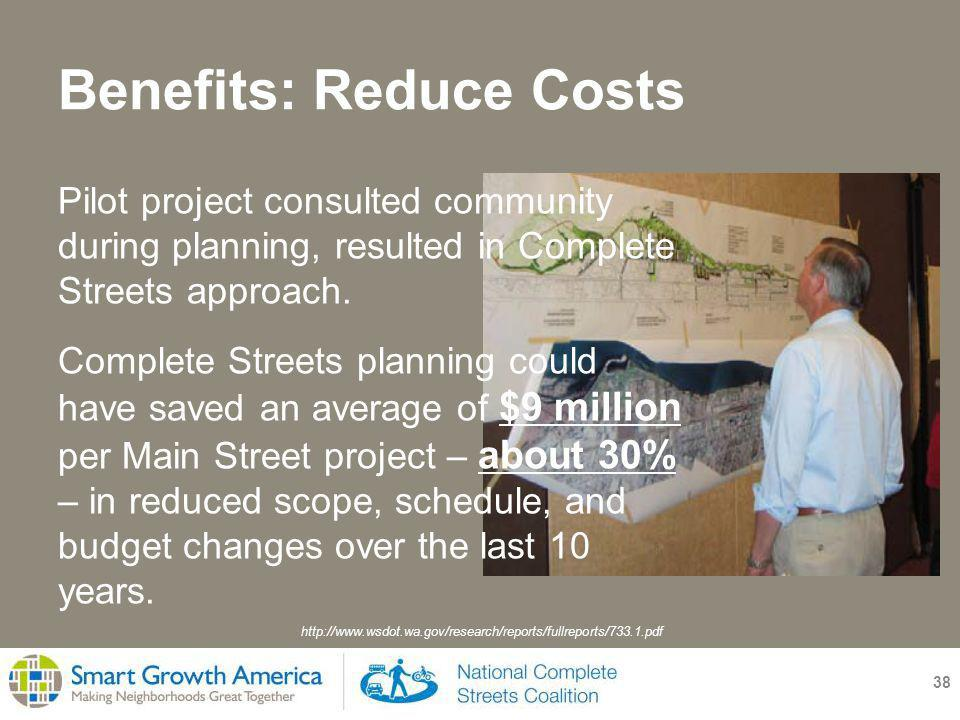 Benefits: Reduce Costs 38 Pilot project consulted community during planning, resulted in Complete Streets approach.