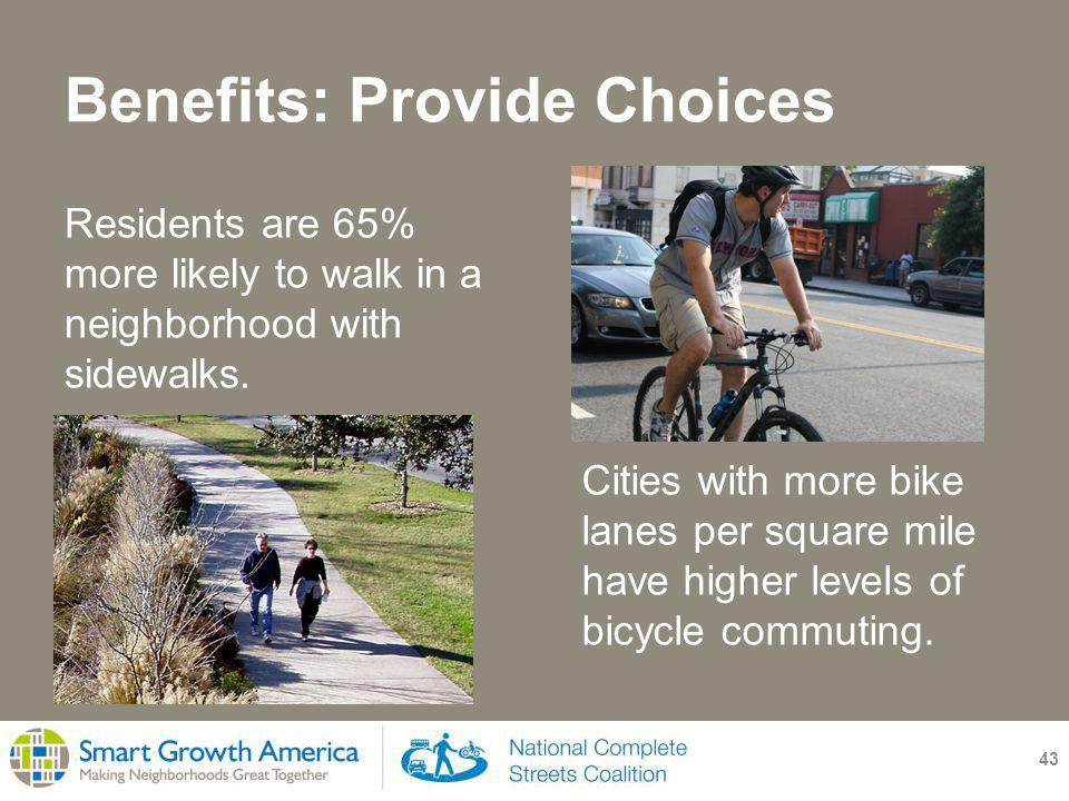 Benefits: Provide Choices 43 Residents are 65% more likely to walk in a neighborhood with sidewalks.
